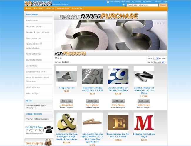 3D Signs Online Store Website Screenshot