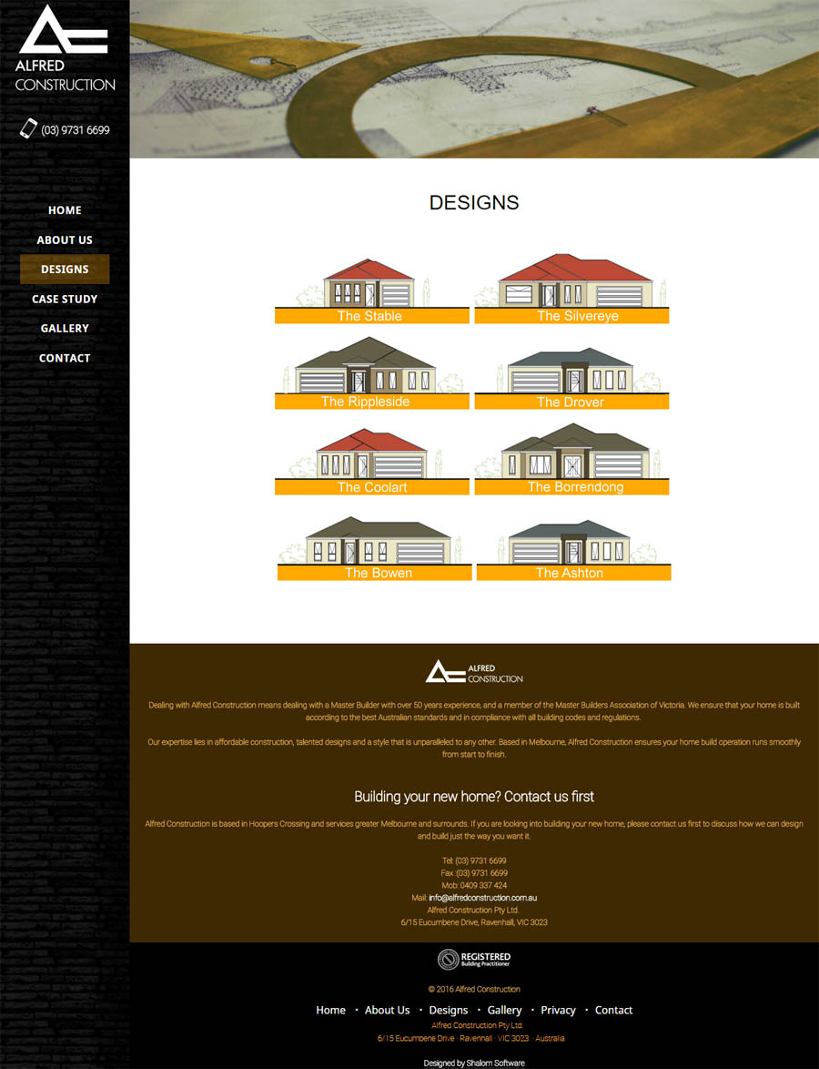 Alfred Construction Website Screenshot