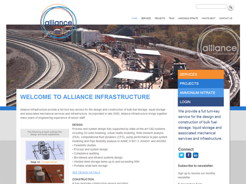 Alliance Infrastructure Website Screenshot