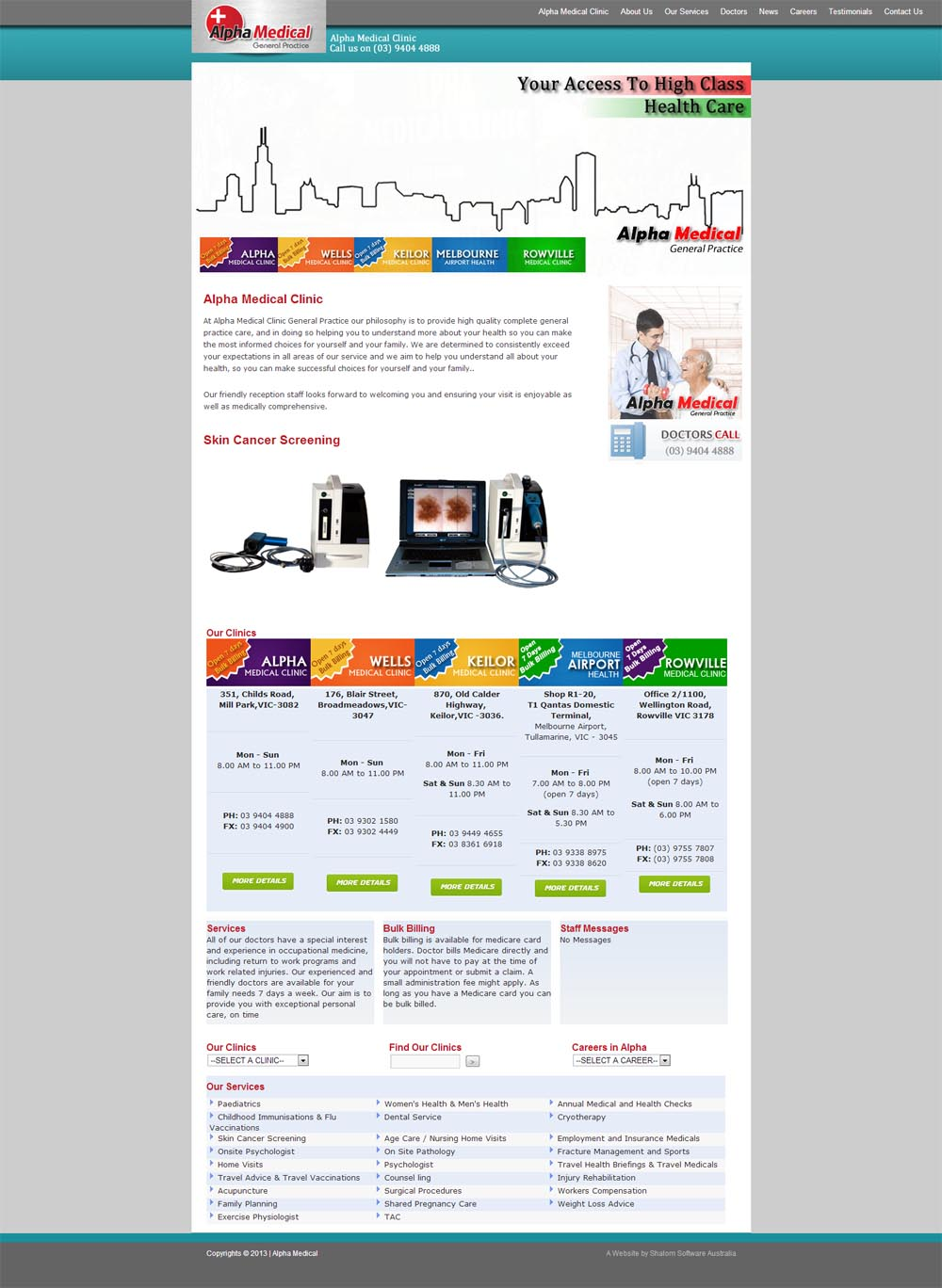 Alpha Medical Website Screenshot