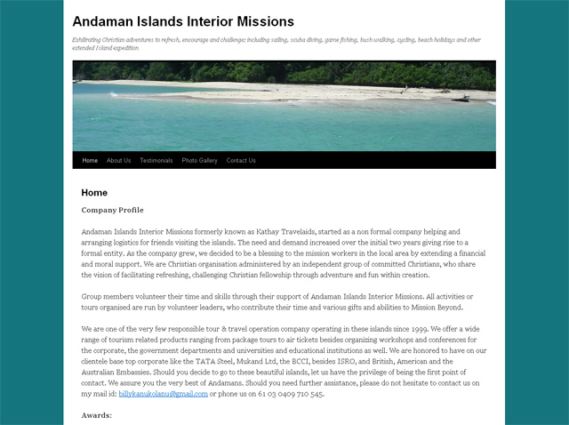 Andaman Island Missions Website Screenshot