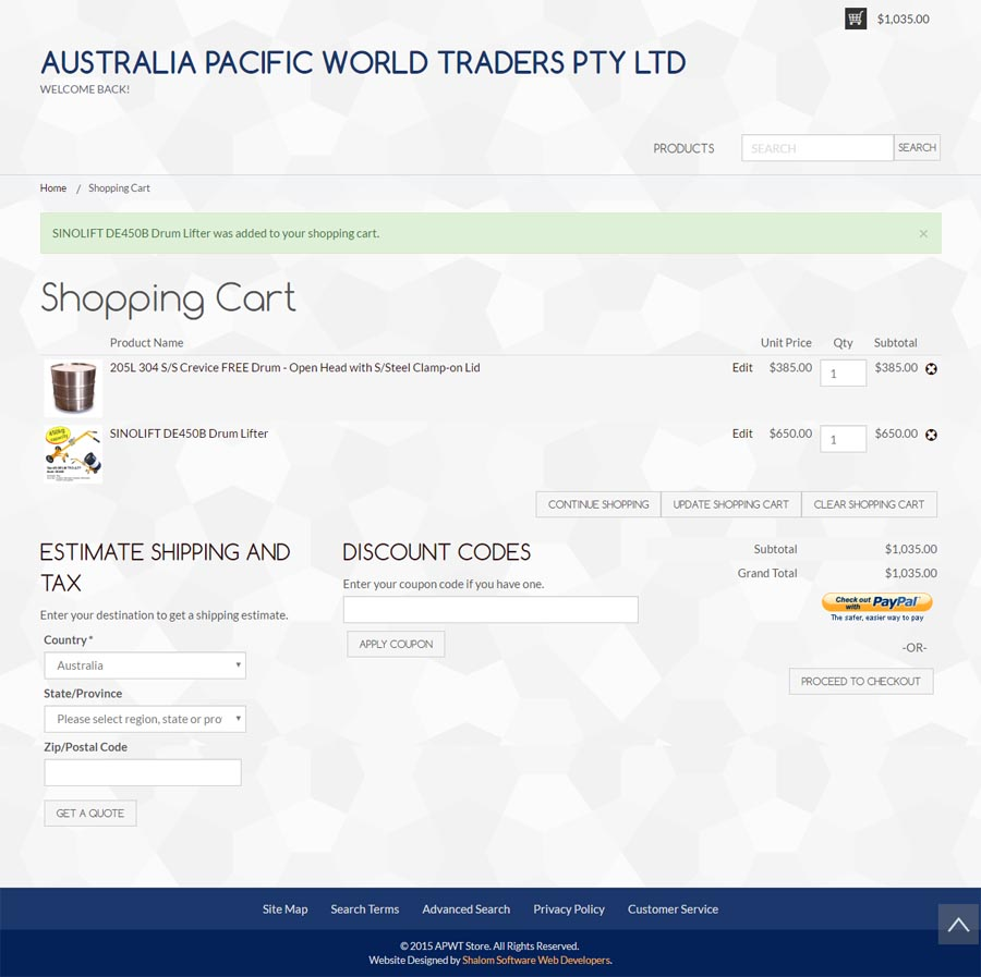 Australia Pacific World Traders Website Screenshot