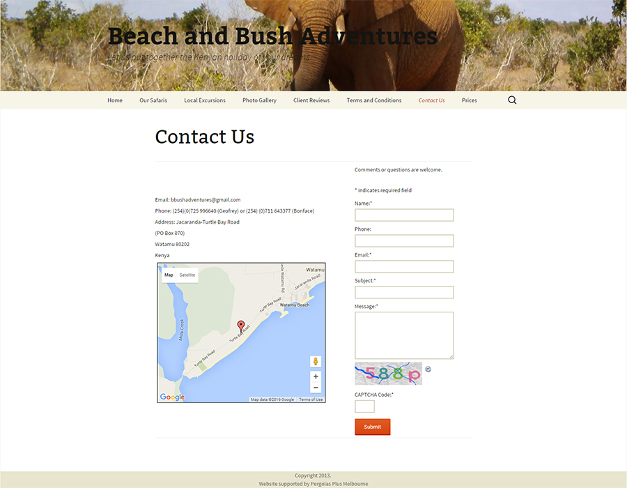 Beach and Bush Adventures Website Screenshot
