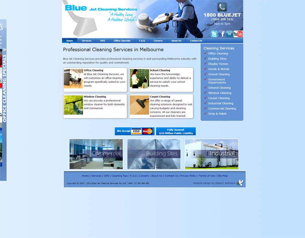 Blue Jet Cleaning Service Website Screenshot
