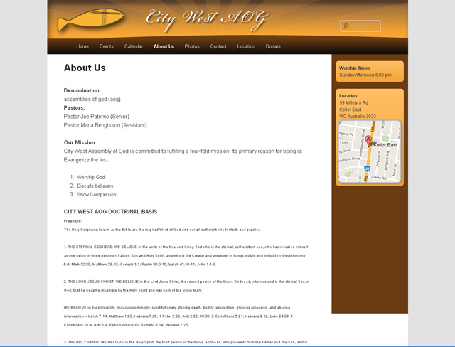 Citywest AoG Church Website Screenshot