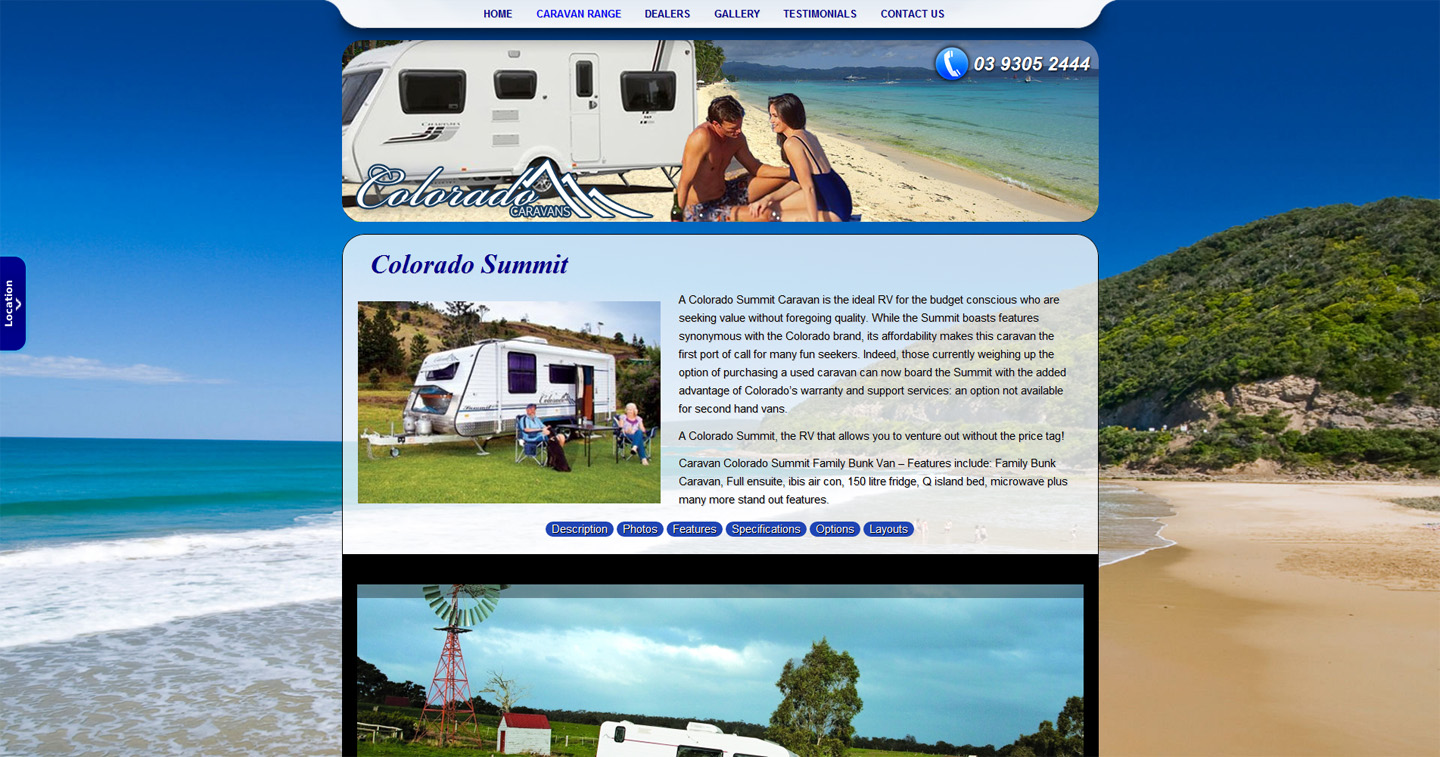 Colorado Caravans Website Screenshot