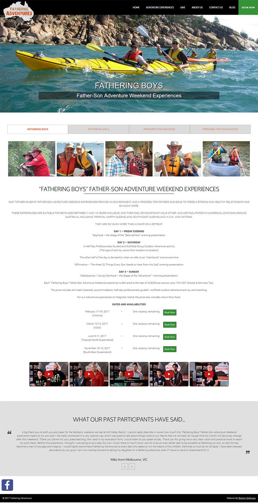 Fathering Adventures Website Screenshot