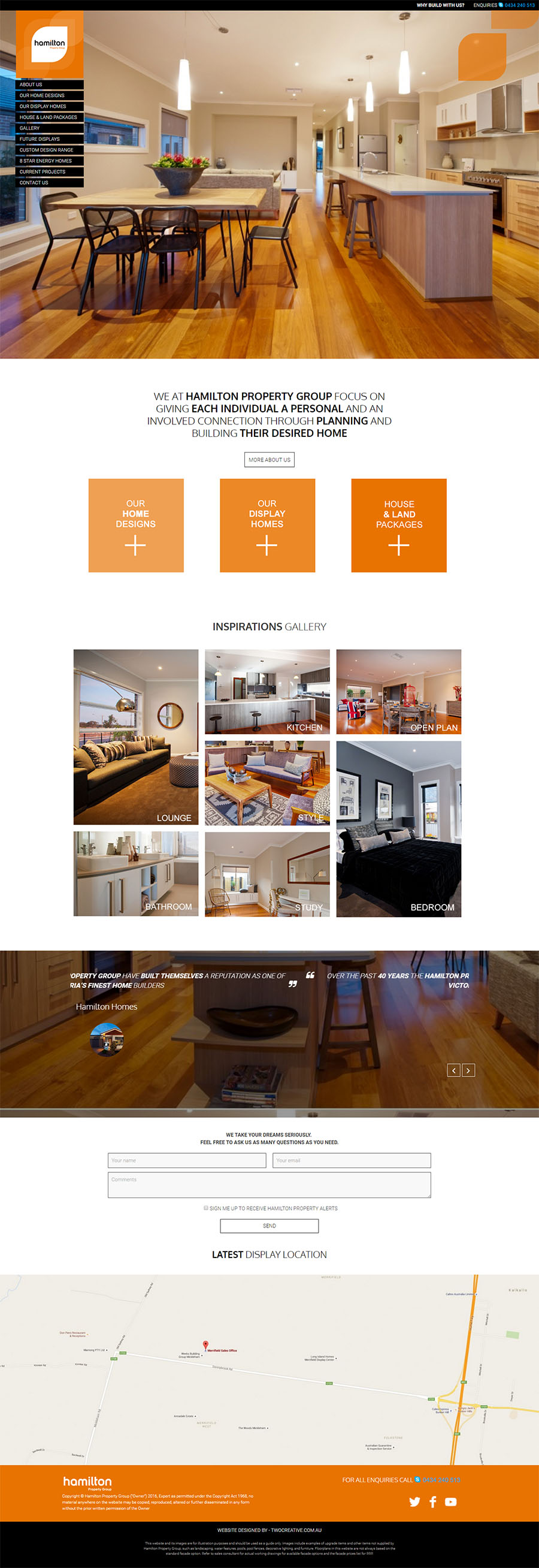 Hamilton Homes Website Screenshot