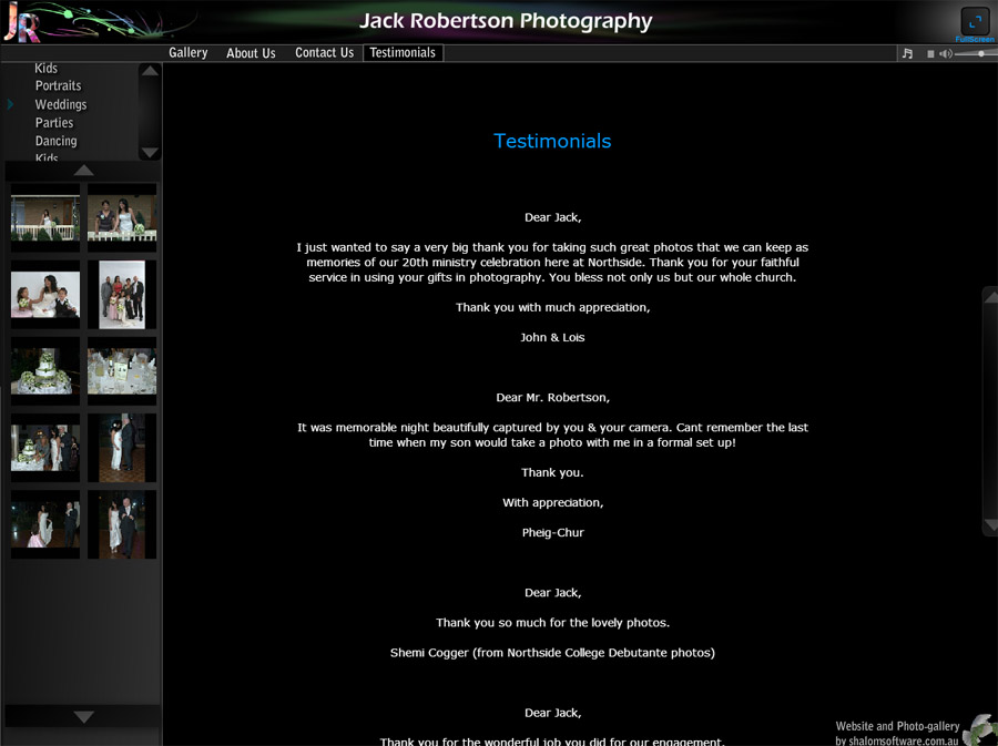 Jack Robertson Photography Website Screenshot