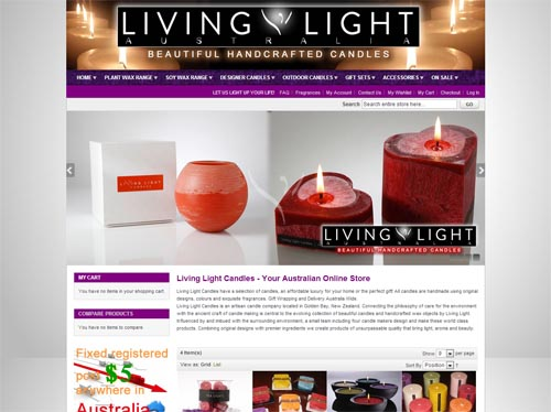 Living Light Australia Website Screenshot