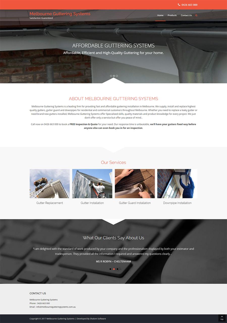 Melbourne Guttering Systems Website Screenshot