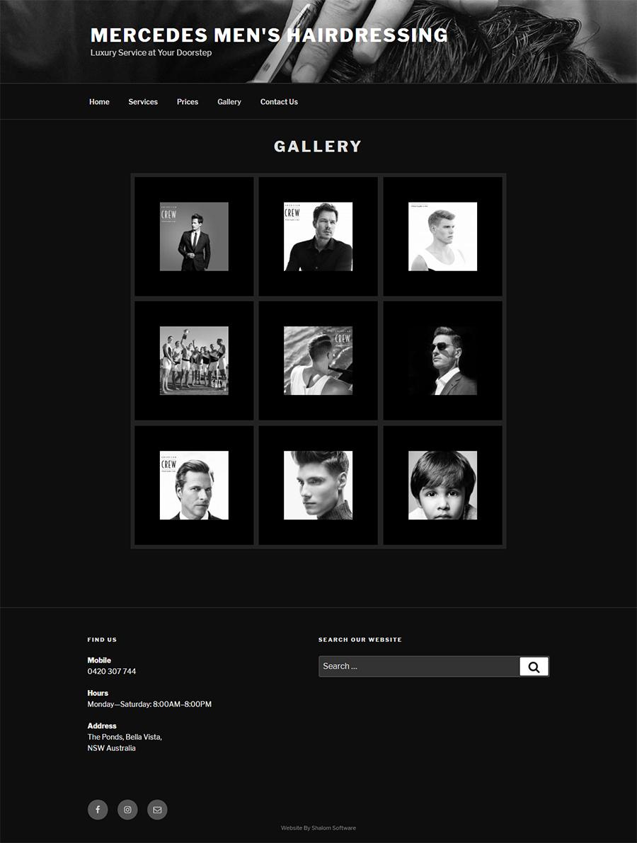 Mercedes Men's Hairdressing Website Screenshot