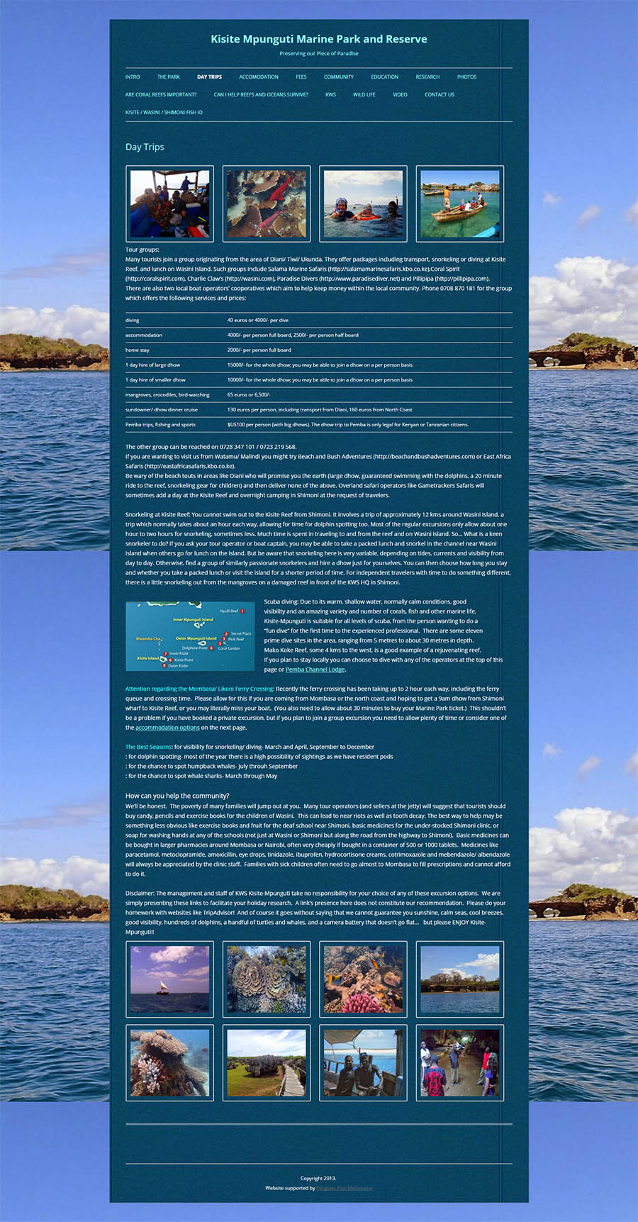 Kisite Mpunguti Marine Park and Reserve Website Screenshot