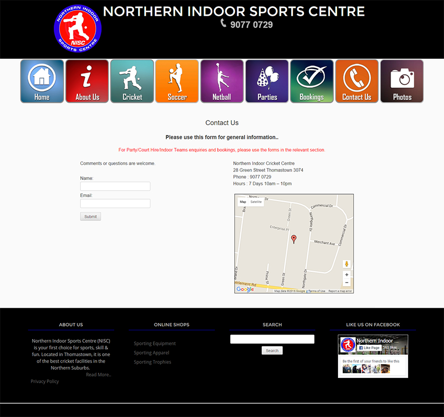 Northern Indoor Sports Centre Website Screenshot