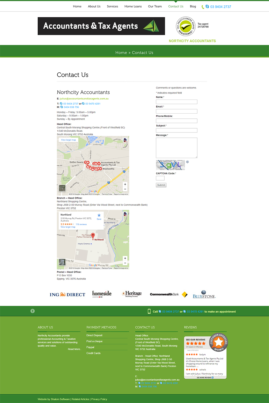 Northcity Accountants Website Screenshot