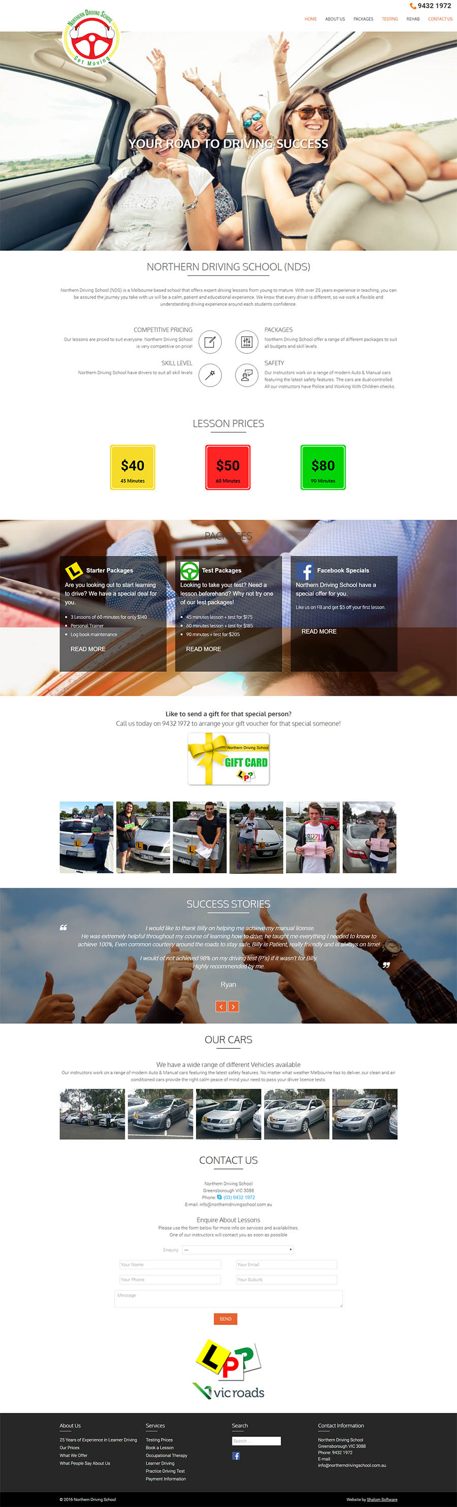 Northern Driving Website Screenshot