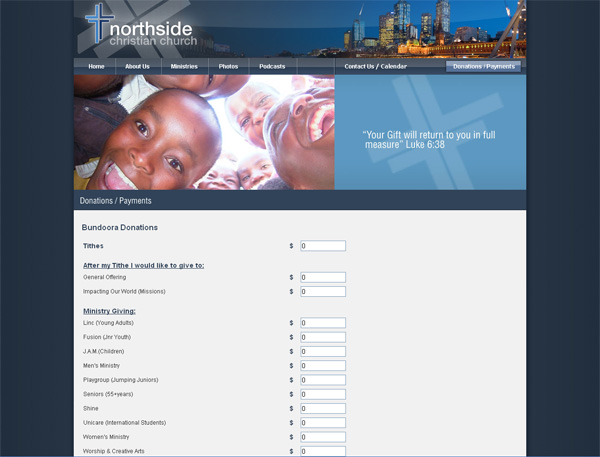 NorthsideCC Donation forms and online store Website Screenshot