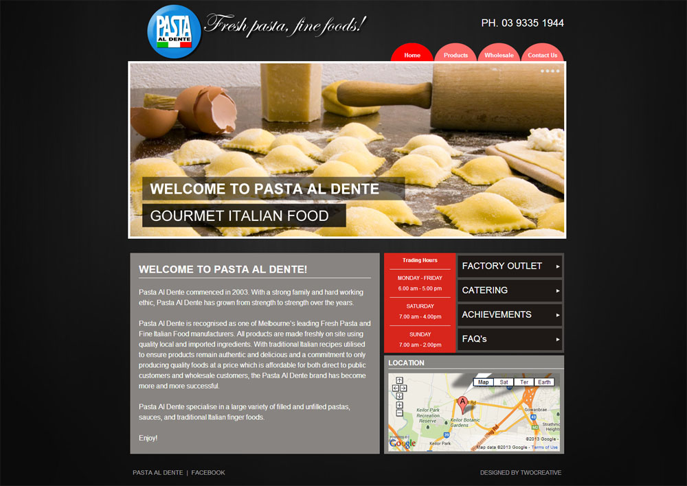 Pasta Al Dente Website Screenshot