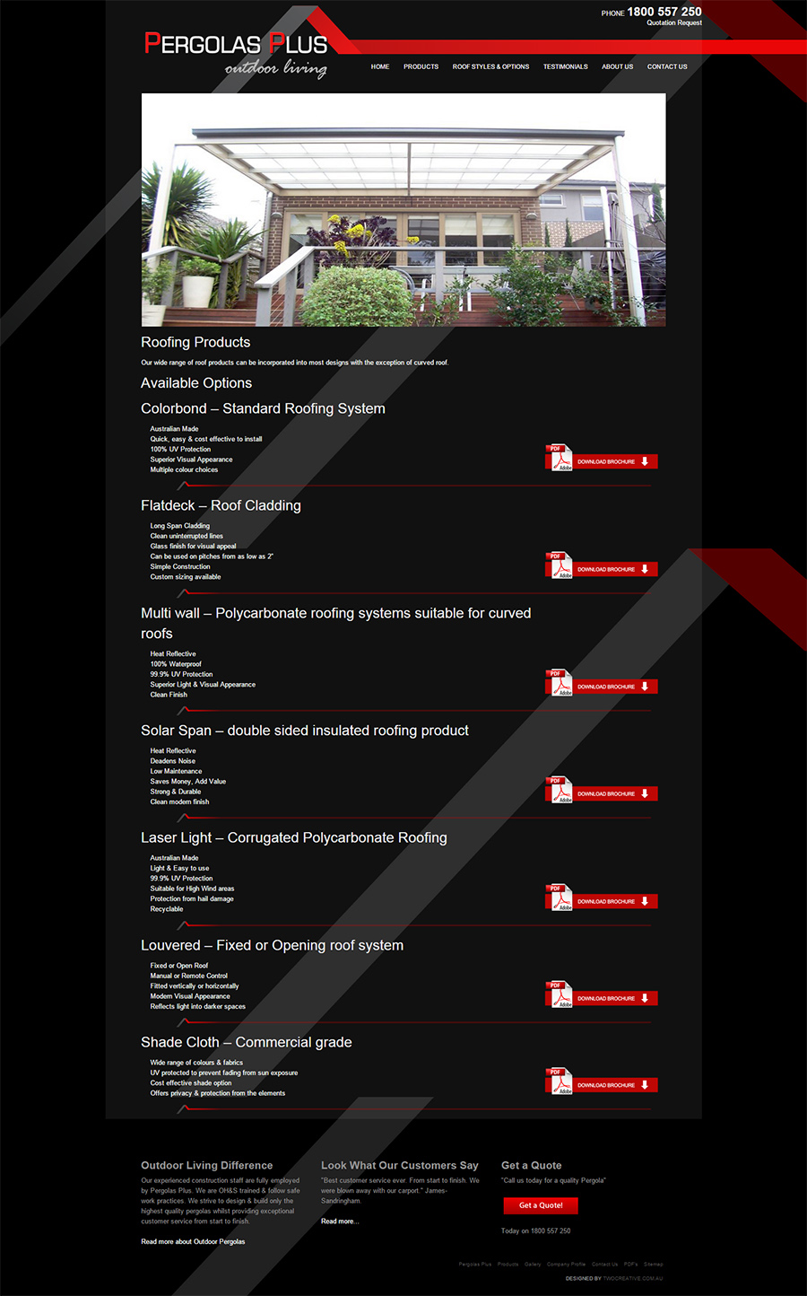 Pergolas Plus Website Screenshot