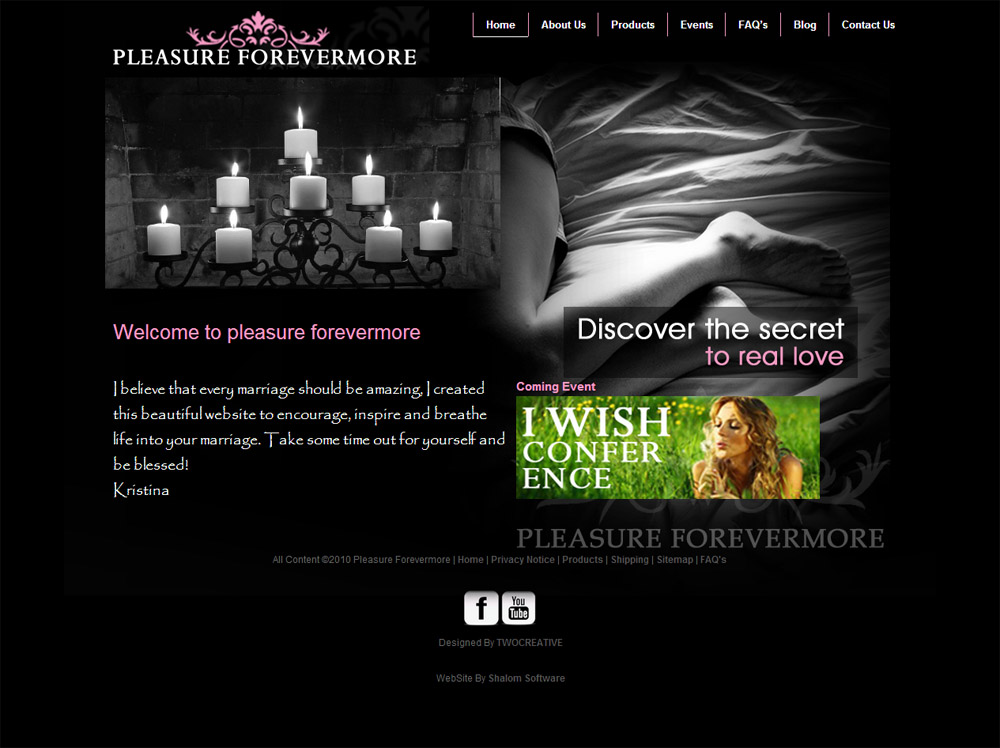 Pleasures Forever Website Screenshot