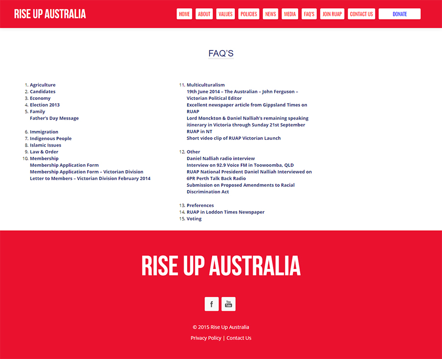 Rise Up Australia Party Website Screenshot