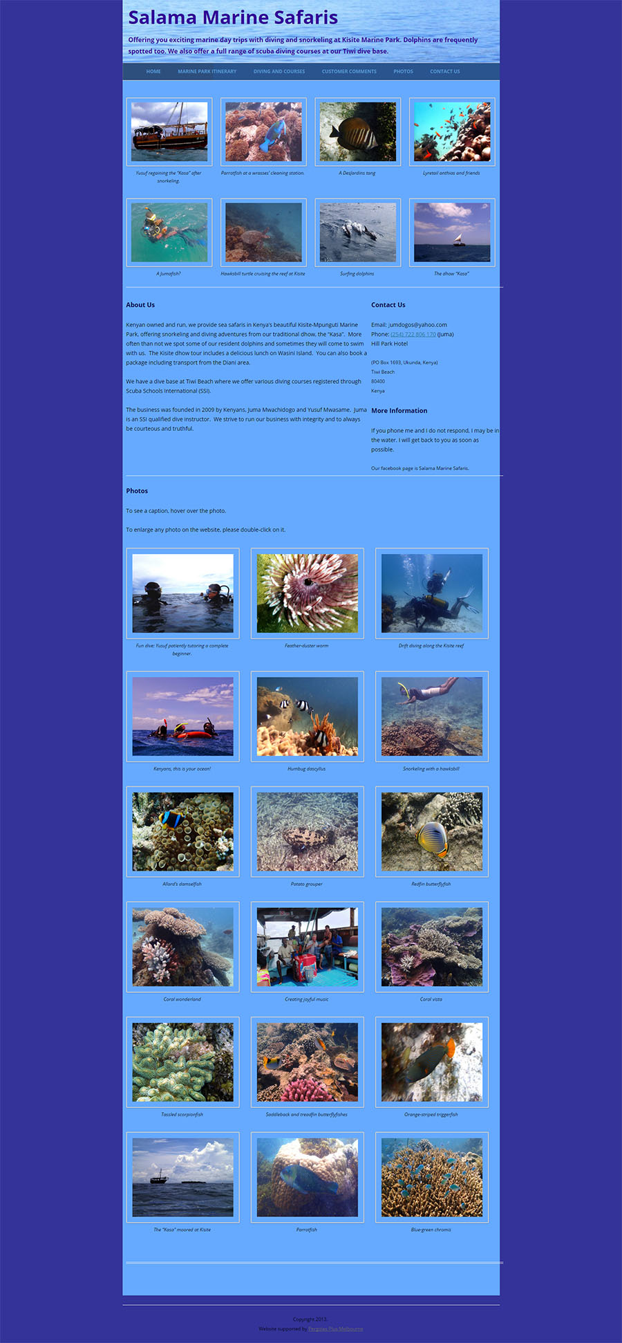 Salama Marine Safaris Website Screenshot