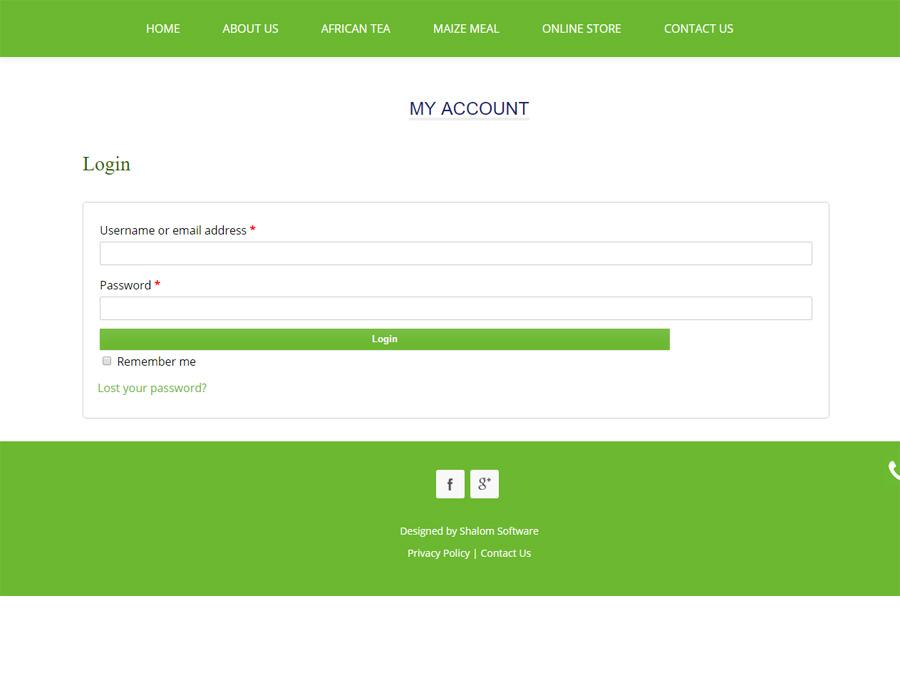 Southern Africa Foods Website Screenshot