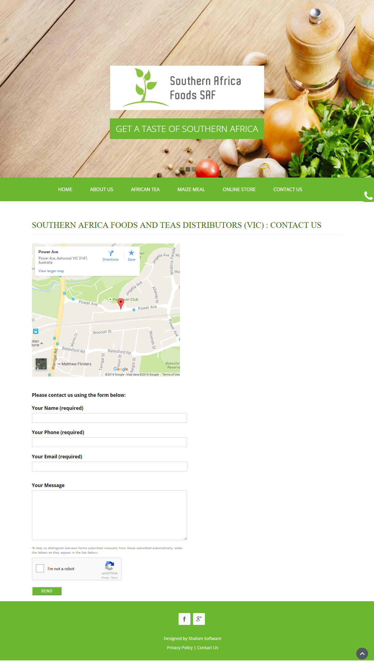Southern Africa Foods Website Screenshot