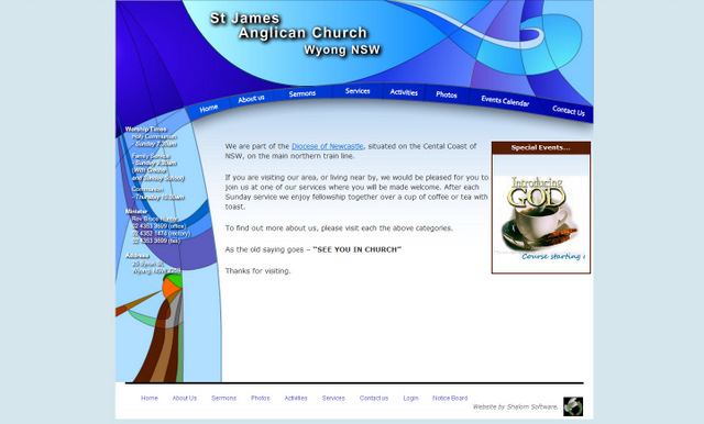 St James Anglican Church Website Screenshot
