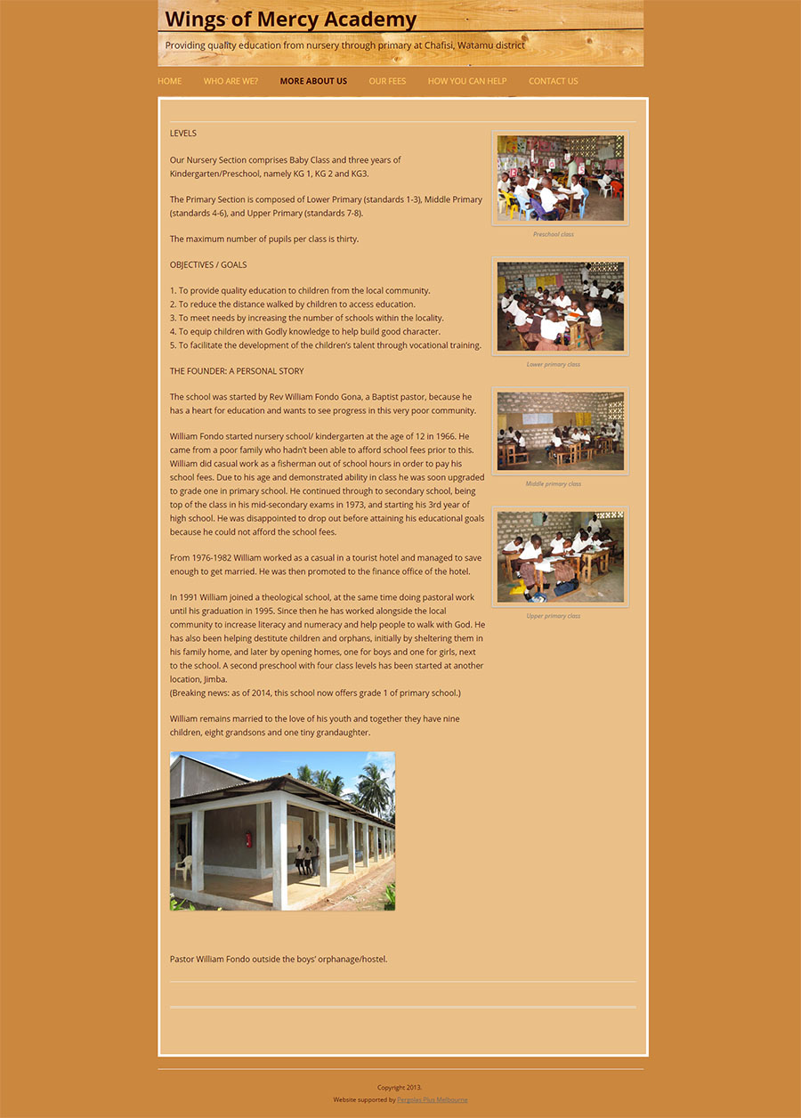 Wings of Mercy Academy Website Screenshot